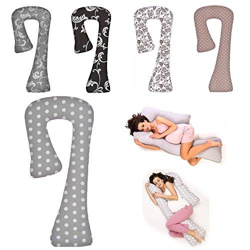 Seitenschläferkissen Schwangerschaftskissen Stillkissen Lagerungskissen ca.134x80x65cm Typ 7 (Grau / Grosse Punkte Nr. 15)