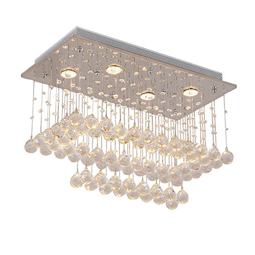 Lightess Modern Chandeliers Flush Mount Crystal Ceiling Light LED Chandelier Lighting 6-Light Glass Rain Drop Ceiling Lighting for for Dining Room Bedroom Hotel Wedding, DY-A14