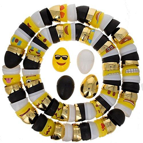 BestPysanky Set of 48 Plastic Easter Eggs- 12 Gold, 12 White, 12 Emoji and 12 Blackboard 2.25 Inches ()