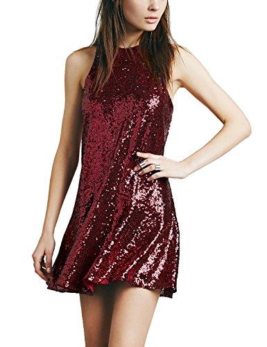 Avoir Aime Women's Sequin Halter Drop-Waist Mini Party Dress - Red, (Womens Metallic Dress)