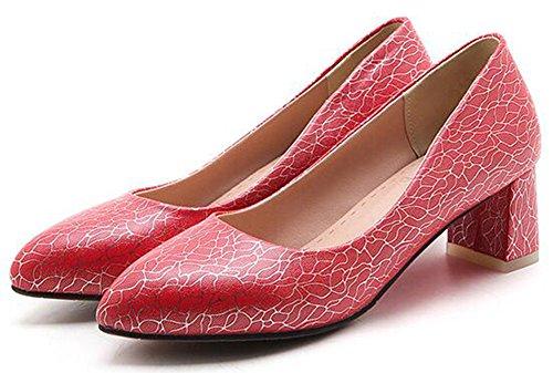 Idifu Womens Mode Bout Pointu Slip Bas Bas Sur Les Chaussures De Pompes Avec Des Talons Mi Chunky Rouge