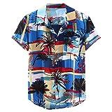 utda.sh-fs Men Shirt Print Tree Hawaiian Loose Short Sleeve Casual Button Stand Collar Blue