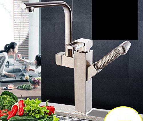 Modern simple copper hot and cold kitchen sink taps kitchen faucet Pull-type hot and cold kitchen faucet copper universal swivel telescopic drawing heightening Suitable for all bathroom kitchen sinks