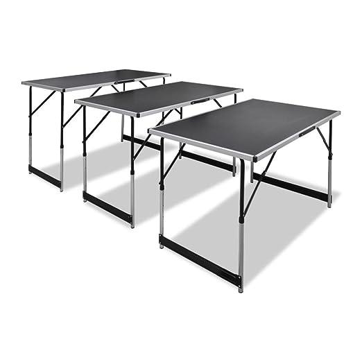 Lingjiushopping 3 x Mesa de trabajo plegable altura ajustable 3 x ...