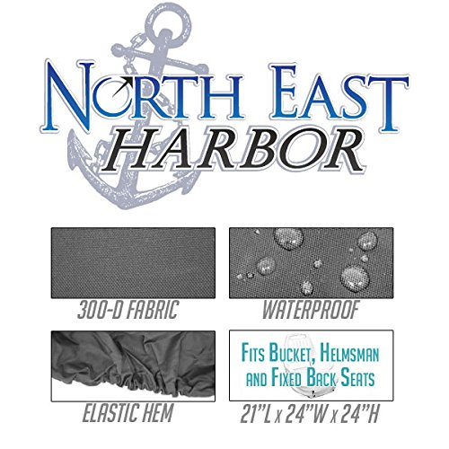 North East Harbor BSC-001 Seat Storage Cover (Boat Helm Helmsman Bucket Single - 21'' L W X 24'' H - Gray)