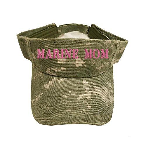 (Military USMC Text U.S. Marine Mom 100% Cotton Digital Camo Visor)