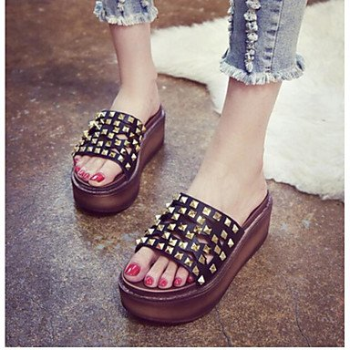 RUGAI-UE Moda de Verano Mujer sandalias casuales zapatos de tacones PU Confort zipper,Purple,US6.5-7 / UE37 / UK4,5-5 / CN37 Black