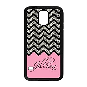 Black Grey Chevron & Hot Pink Pattern (NOT ACTUAL GLITTER) Personalized Custom Samsung Galaxy S5 Best Rubber & Plastic Case