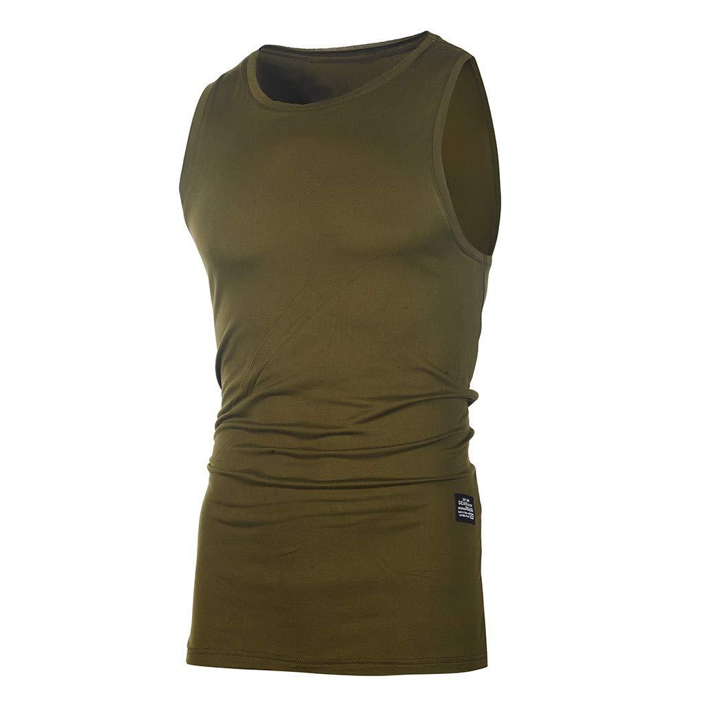 Suma-ma Mens Fashion Personality Sleeveless Tops Summer Casual Slim Vest T Shirt Solid Blouses