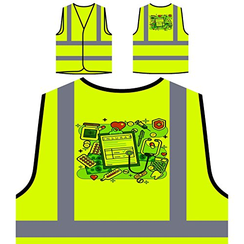 Life Insurance Health Art Personalized Hi Visibility Yellow Safety Jacket Vest Waistcoat O624v