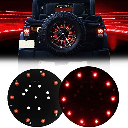 FIREBUG Jeep 3rd Brake Light LED, Jeep Spare Tire Brake Light, Jeep LED Brake Light, Jeep Accessories Lights for Spare Tire, Jeep Wrangler Spare Tire Brake Light JK JKU 2007-2017, Red, New (2009 Jeep Wrangler Unlimited Sahara Tire Size)