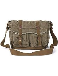 Canvas Messenger Bag - Vintage Shoulder Bag Frayed Style Satchel