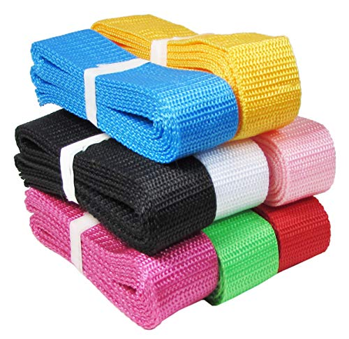 HipGirl 1 Inch Polypro Webbing, 8 x 5 Yards Bulk Set, for DIY Key Fob Hardware, Yoga Strap, Tote, Bag Handle, Backpack Strap, Belt Webbing Strap, Leash, Lawn Chair Webbing Replacement