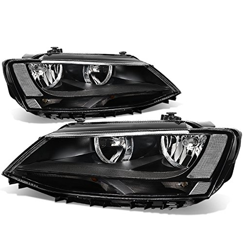 VW Jetta 4-Door MK6/A6 Pair of Black Housing Clear Corner Headlight Lamp