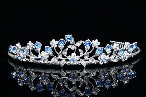 Floral Leaf Bridal Wedding Tiara Crown - Blue Crystals Silver Plating T662 by Venus Jewelry SAMKY-T662