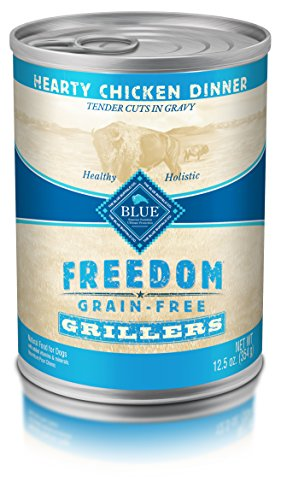BLUE Freedom Grillers Adult Grain Free Hearty Chicken Wet Dog Food 12.5oz (Pack of 12)