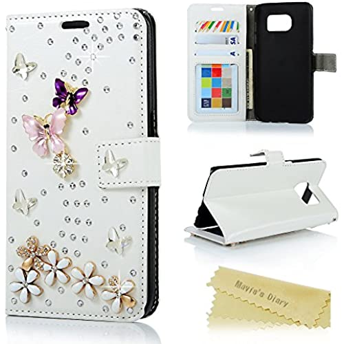 S7 Edge Case, Galaxy S7 Edge Wallet Case - Mavis's Diary 3D Handmade Bling Crystal PU Leather with Shiny Diamonds Elegant Butterfly Floral Flip Cover Sales