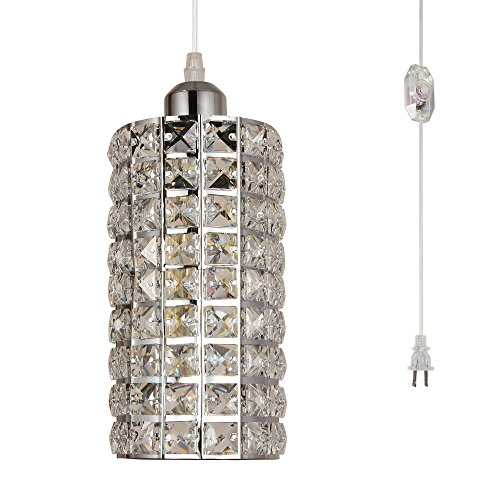 HMVPL Modern Plug in Crystal Chandelier Pendant Light with Clear 16.4 Ft Cord and in-Line On/Off Dimmer Switch Swag Hanging Ceiling Lamp, Chrome Finish Cylinder Style (Dimmer Switch Chrome)