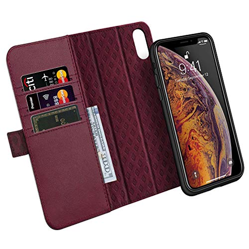 ZOVER Compatible with iPhone Xs Max Detachable Wallet Case with Auto Sleep/Wake Genuine Leather Kickstand Feature Cards Bison Fone Slots Magnetic Clasps Gift Box Wine Red