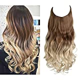 SARLA Ombre Halo Hair Extensions for Women Wavy Curly Synthetic Hair Piece Adjustable Headband Transparent Wire Brown to Ash Blonde with Platinum Blonde No Clip 16 Inch 3.9 Oz