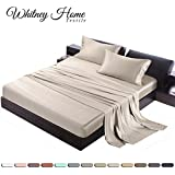 Hotel Quality Silky Soft 100% Bamboo-Derived Rayon Bed Sheet Set King 4 Pieces (1 Deep Pocket Fitted Sheet, 1 Flat Sheet, 2 Pillowcases) Hypoallergenic Breathable Solid Ivory White Satin Bedding