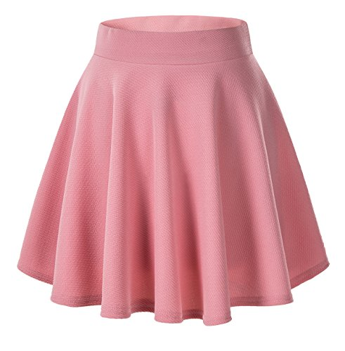 Urban CoCo Women's Basic Versatile Stretchy Flared Casual Mini Skater Skirt (Large, Pink)