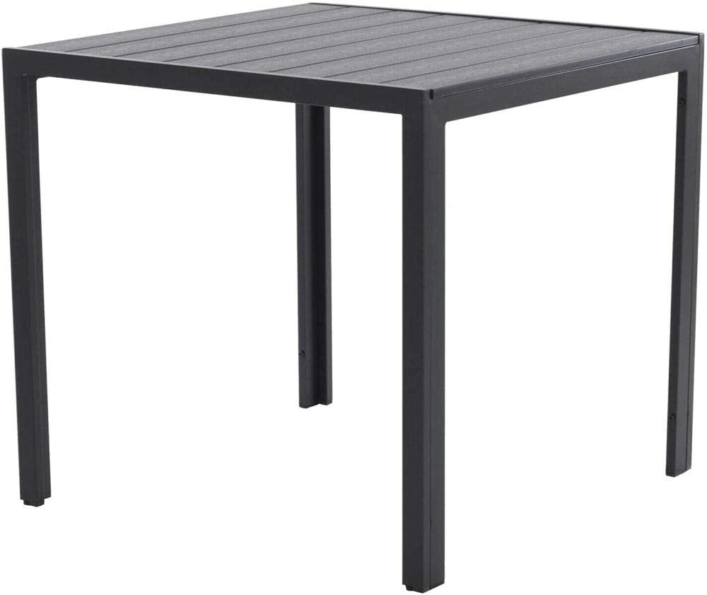 Mesa de jardín Mesa de Comedor Polywood de Aluminio 70 x 125 cm Gray Fantastic