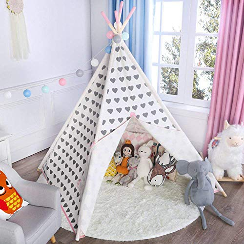 (Asweets Teepee Tent for Girls, Princess Canvas Kids Play Tent for Indoor Decor with Carry Case, Grey Heart with Pink)
