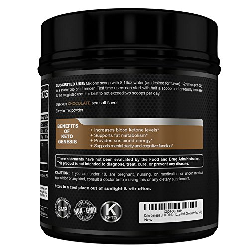 Keto Genesis BHB Drink – 100% Natural & Delicious Rich Chocolate Sea Salt Exogenous Ketones Snack/Ketogenic Meal Replacement – Fire Up Ketosis, Burn Fat & Increase Energy (Rich Chocolate Sea Salt)