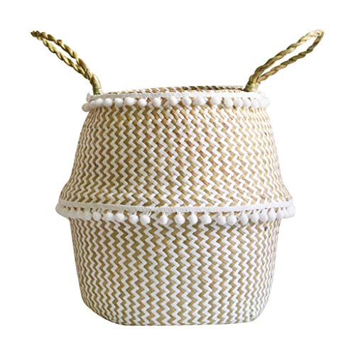 Togethor Seagrass Belly Plant Basket Small Natural & Plus Woven with Handles Woven Basket for Storage, Laundry, Picnic, and Beach Natural Round Wicker Planter (Rattan Ball Decorative Oversized)