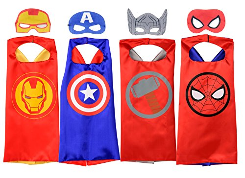 Rubie's MARVEL SUPER HERO Cape Set, Officially Licensed 4 Capes and 4 Masks Assortment (Amazon -