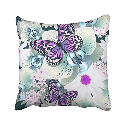 Pakaku Throw Pillows Covers for Couch/Bed 18 x 18 inch,Butterflies Orchids and Daisies Home Sofa Cushion Cover Pillowcase Gift Decorative Hidden Zipper Design Cotton and Polyester