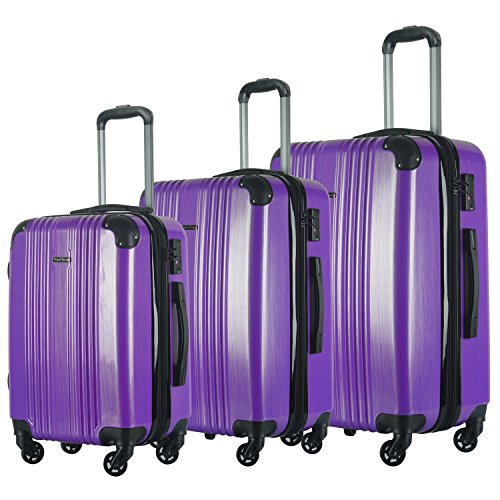 3 PC Luggage Set Durable Lightweight Spinner Suitecase LUG3 6111 PURPLE