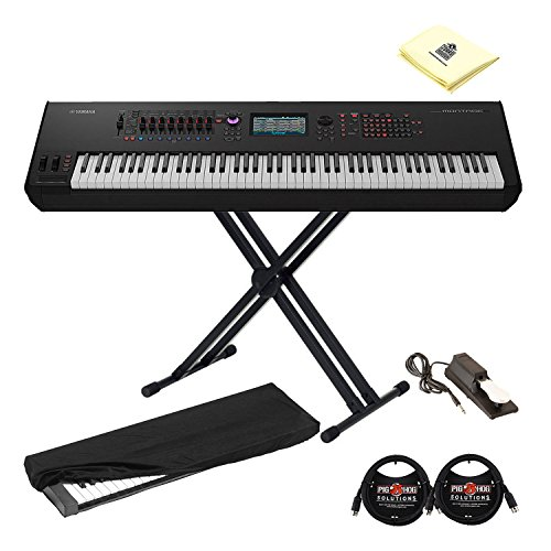 Yamaha MONTAGE8 88 Key Flagship Music Synthesizer Bundle with FSX Action and Motion Controls with X-Style Keyboard Stand,Sustain Pedal,Keyboard Cover, 2 MIDI Cables and Synthesizer Cloth in Black