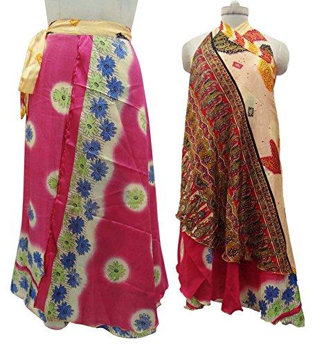 Reversible de las mujeres del vestido de poliéster magia falda del abrigo Tamaño más largo cabestro sarong Multicolor-4