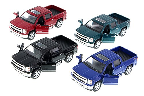 2014 Chevy Silverado Pick-up Truck, SET OF 4 - Kinsmart 5381D - 1/46 Scale Diecast Model Toy Cars