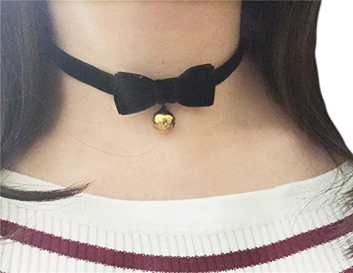 [AnVei-Nao Vintage Lolita Cosplay Gothic Black Velvet Bow Bell Choker Necklace Gold] (Custom Costumes Jewelry Wholesale)