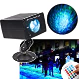KOOT Water Ripples Light ,16 Colors Changing Sound Activated Ocean Ripple Effect Projector Stage Lights with Remote Control for Parties DJ Karaoke Wedding Christmas Outdoor Halloween