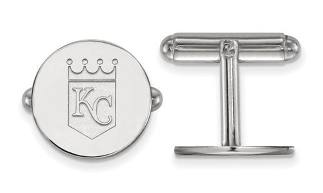 Rhodium-Plated Sterling Silver Kansas City Royals Cuff Links, 15MM
