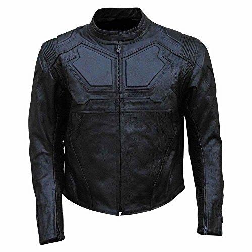 Coolhides Men's Oblivion Real Leather Motorcycle Jacket Large Cow Black