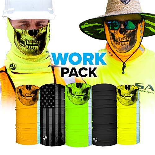 S A Face Shields for Men and Face Shields for Women Work 5 Pack of Best Multipurpose UV Face Shields - Worn 12+ Ways as Head Wrap, Neck Gaiter, Headband, Face Shield, Bandana, Balaclava