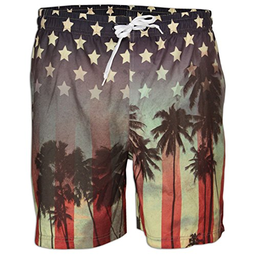 Soulstar MST Sunstripe Mens USA Palm Print Swim Shorts - USA Stripe / Palm - Size Small