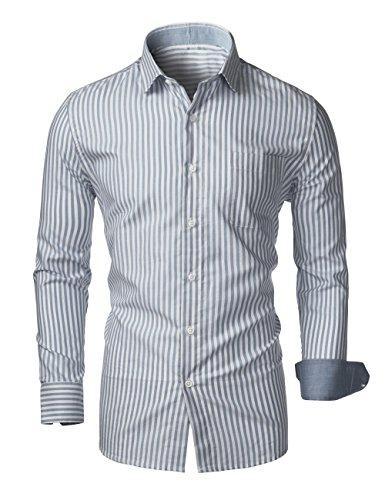 Shirt Dress Stripe (KAIUSI Men's Long Sleeve Regular Fit Stripe Dress Shirt X-Large Navy #1)