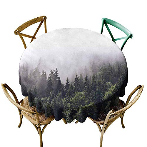 StarsART Decor Collection Table ClothsForested Mountain Slope in Low Lying Cloud with The Evergreen conifers Shrouded in Mist in a Scenic Landscape View D60,Modern Washable Tablecovers