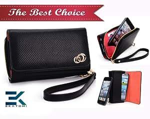 PU Leather Women's Wallet Wristlet Clutch Universal Phone Bag compatible with Gigabyte GSmart t600 Case - WOVEN BLACK