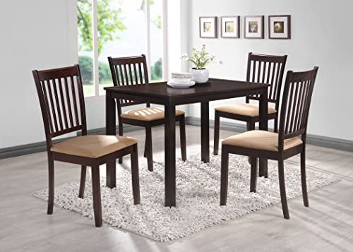 Kings Brand Cappuccino Finish Wood 5 Piece Dining Kitchen Set, Table 4 Chairs