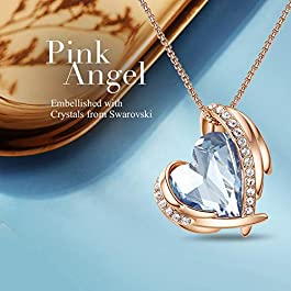 CDE Love Heart Pendant Necklaces for Women Silver Tone Rose Gold Tone Crystals Birthstone Valentines Day Jewelry Gifts…