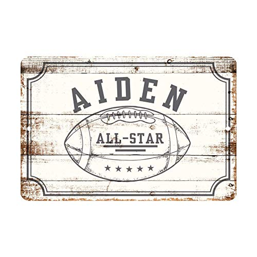 Anwei Signs Personalized Football All Star Metal Wall Decor - Aluminum All Star Football Sign with Football 12 X 16 Inch