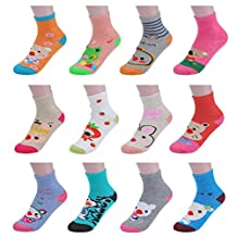 Girls' 12 Pack Crew Ankle Socks Animal Character