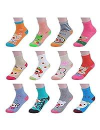 Girls' 12 Pack Crew Ankle Socks Animal Character